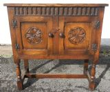 SOLD - Carved Oak Side Cupboard